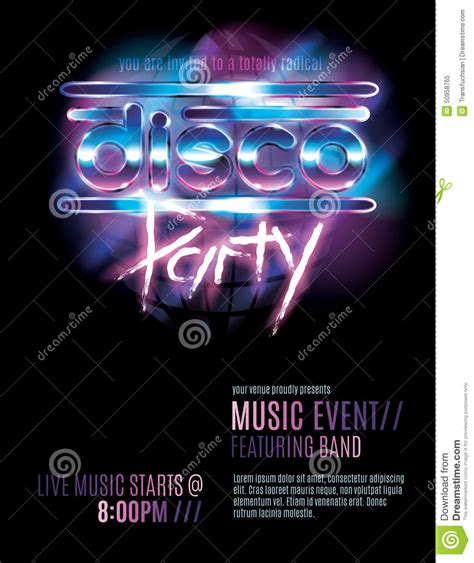 template flyer disco disco party flyer template stock vector illustration of