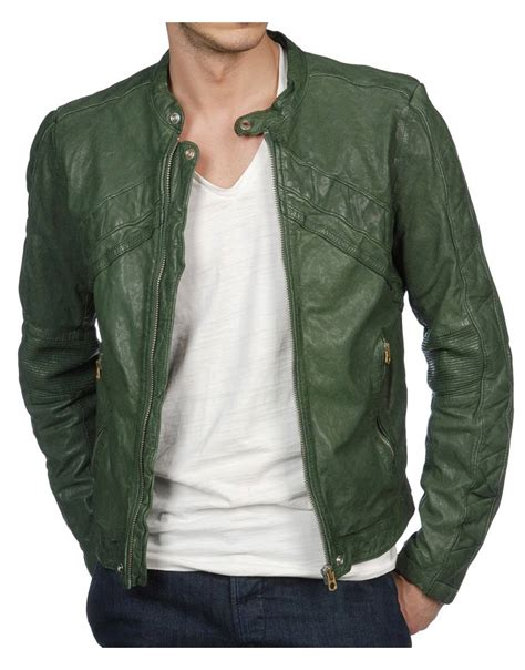 Mens Green Leather s casual real leather green biker jacket ujackets