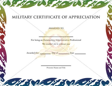 army certificate of appreciation template certificate of appreciation template
