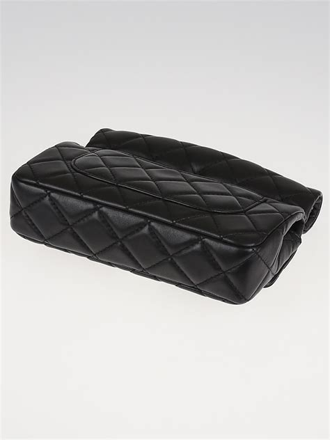chanel black quilted lambskin leather small roll clutch