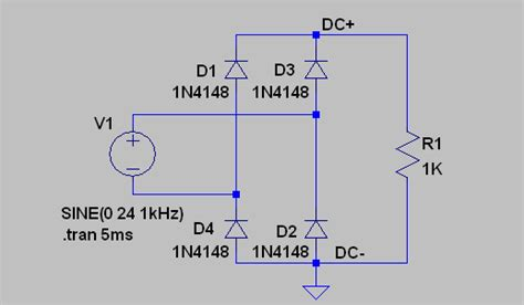 lt diode bridge simulation diode bridge in simulator not behaving as expected electrical engineering stack