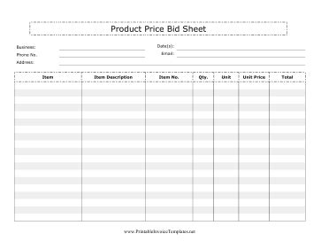 Product Price Bid Sheet Template Brand Sheet Template