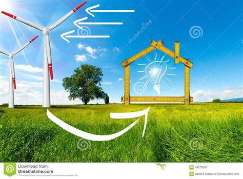 casa dell energia concetto di casa ecologico dell energia eolica