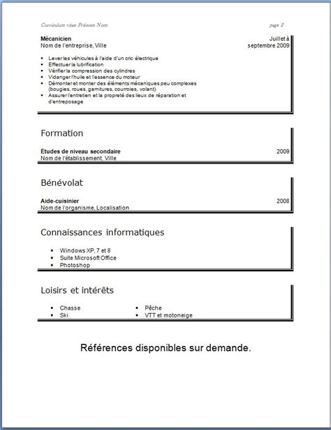 Cv Modele Simple by Model De Cv En Francais Simple Le Curriculum Vitae Cv