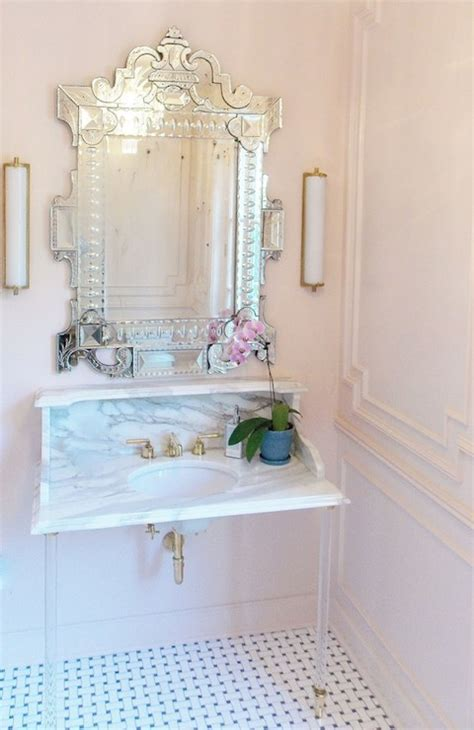 Pink Bathroom Mirror Pink Walls Transitional Den Library Office Benjamin Organdy Atlanta Homes Lifestyles