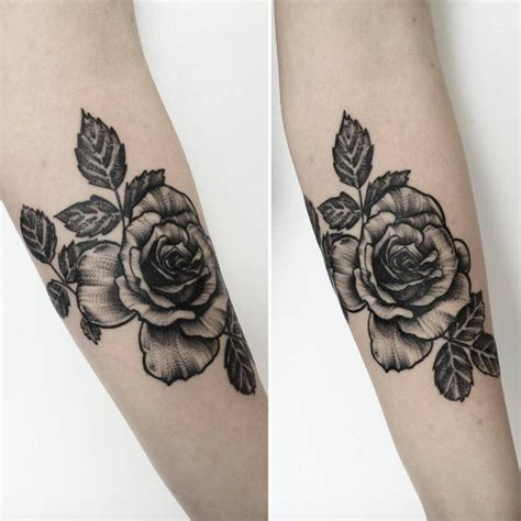 dotwork rose compass tattoo on left arm by daniel rozo 50 enchanting flower tattoos for fall tattooblend