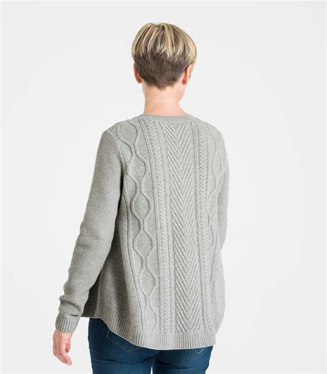 jumper swing soft grey wool blend men s cable front swing jumper