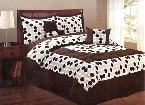 6 pcs micro fur polka dots quilted comforter set bed in a