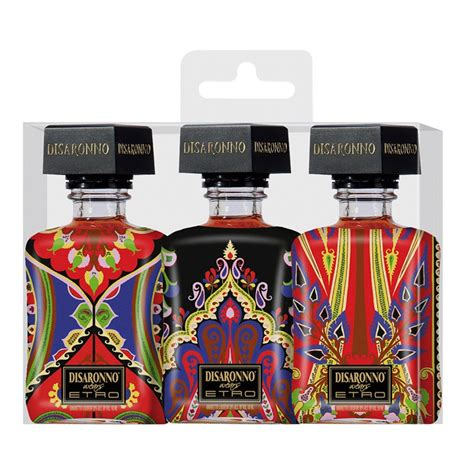 disaronno wears etro 3x 5cl miniature set drinksupermarket