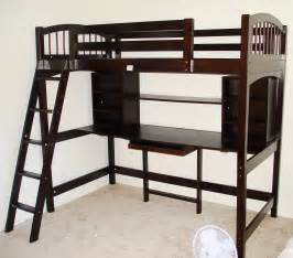 Bedroom varnished maple loft bed which paired with black