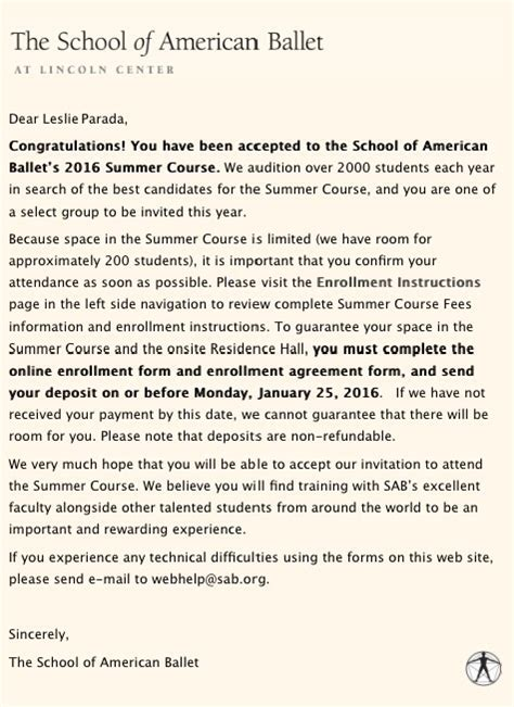 Acceptance Letter From American Fundraiser By Parada Help Send Leslie To Sab New York