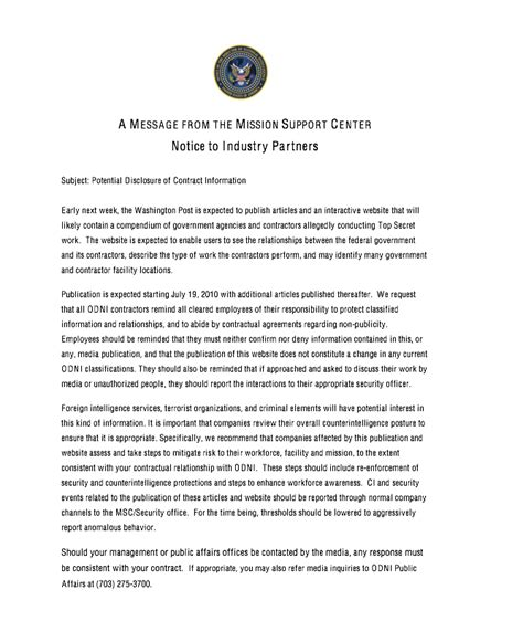 support letter template for missions office of the director of national intelligence odni