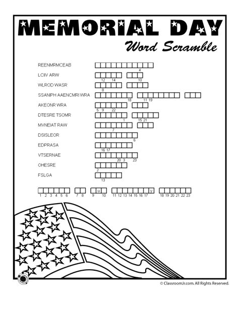 Memorial Day Printable Activity Sheets | memorial day word scramble woo jr kids activities