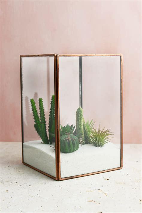Glass Vases Rectangular Glass Terrarium Display Case Copper Large