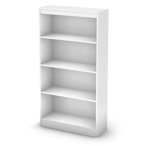 South Shore Four Shelf White Bookcase Ss7250767c White Shelves