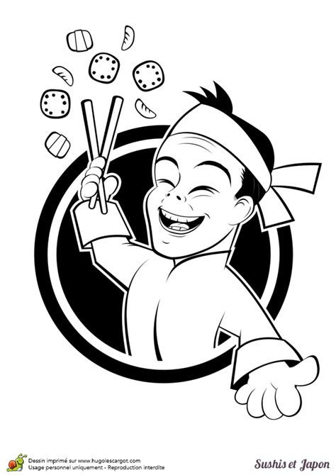 Coloriage De Cuisine Japonaise Sushis Et Cuisinier Coloriage Enfant En Ligne L