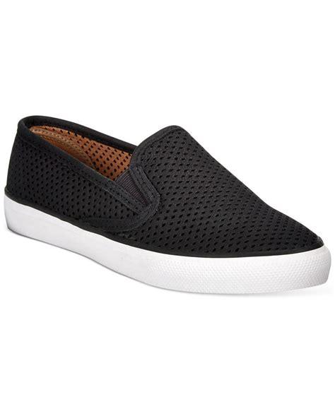 womens black slip on sneakers sperry top sider s seaside slip on sneakers in black
