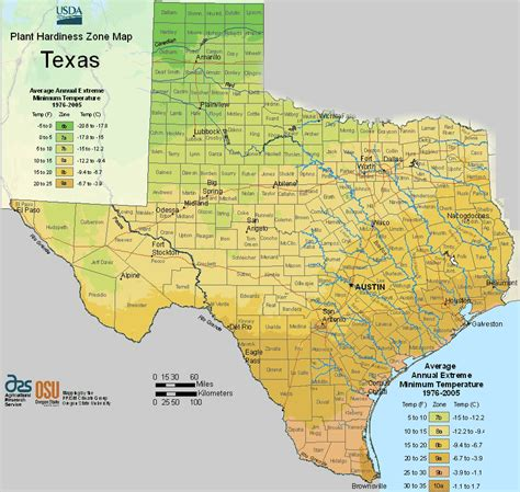 maps for texas usda texas planting zones map for plant hardiness