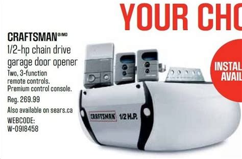 Craftsman 1 2 Hp Garage Door Opener Learn Button Sears Craftsman 1 2 Hp Chain Drive Garage Door Opener Redflagdeals