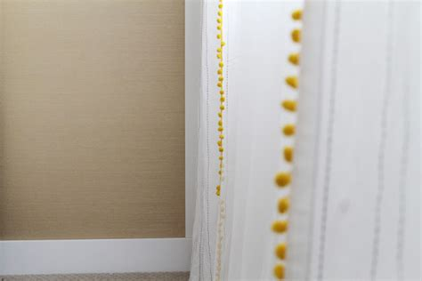 white curtains with yellow trim be fun add pom pom trim to curtains chris loves julia