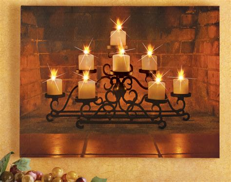 lighted christmas canvas wall art led lighted holiday candelabra canvas wall art christmas