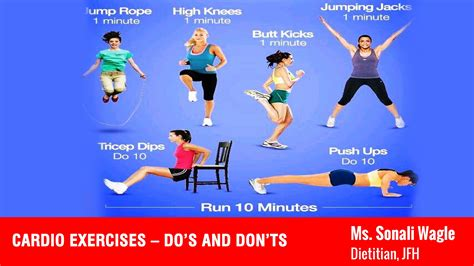 Cardio Exercises With Pictures cardio exercises do s and don ts