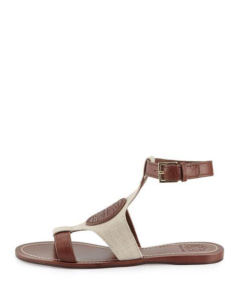 birch sandals burch perforated logo flat sandals in lyst