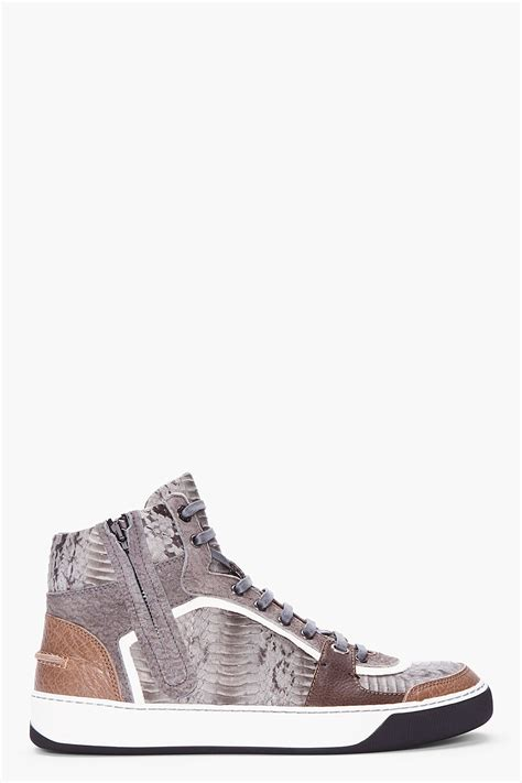 lanvin grey hightop snakeskin tennis shoes in gray for