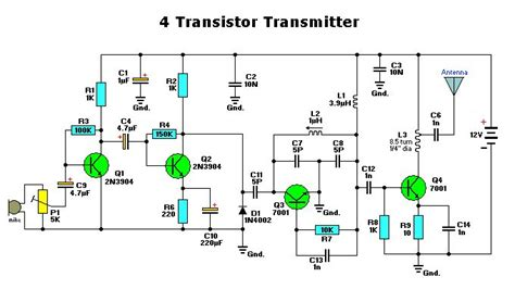 single transistor fm transmitter circuit diagram 4 transistor transmitter electronic circuits