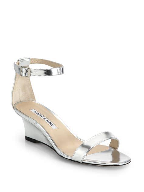 silver sandal wedges lyst manolo blahnik metallic leather ankle wedge