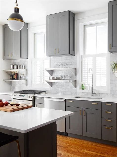 Grey Kitchen Cabinets With White Countertops by Gray Shaker Kitchen Cabinets With Engineered White Quartz