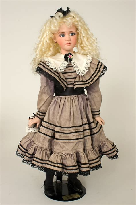 Porceline Dress poppy ii gray dress porcelain collectible doll