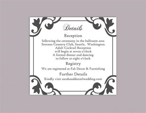 Enclosure Cards Details For Wedding Free Template by Diy Wedding Details Card Template Editable Word File