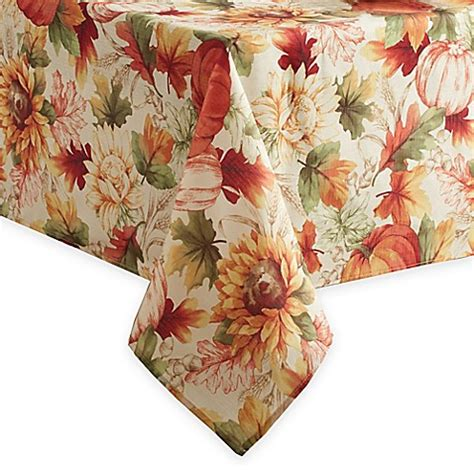 autumn harvest table linens autumn sunflower tablecloth bed bath beyond