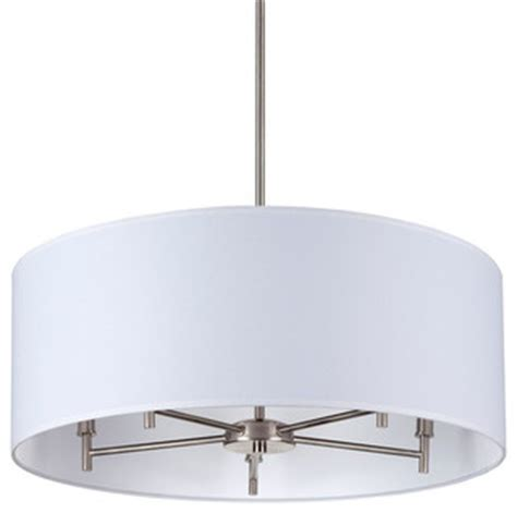 Modern White Nickel Drum Shade Walker 5 Arm Chandelier Drum Shade Brushed Nickel Base