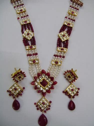 designer real ruby real pearls  gold kundan necklace