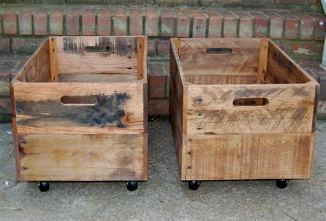 large crate wooden crates large rolling reclaimed wood set of two crates