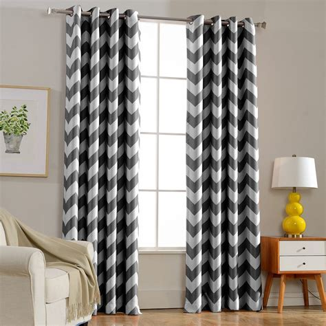dark blue blackout curtains european style window shade curtain gray chevron curtain