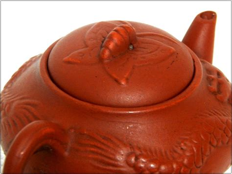 Poci Antik Terakota Yixing Motif Naga barang antik lukito poci yixing motif naga kupu