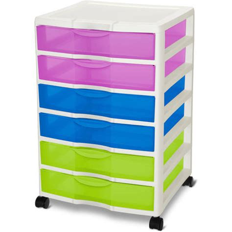 plastic storage cart 6 drawers sterilite wide 6 drawer cart multicolor walmart