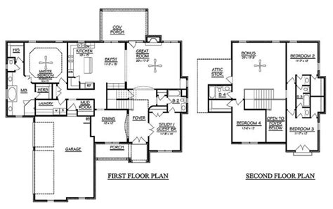 4 bedroom 2 story floor plans 4 bedroom floor plans 2 story amazing house plans