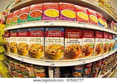 What Is The Shelf Of Canned Soup by Cbells Soup In A Store Shelf Stock Photo Stock Images