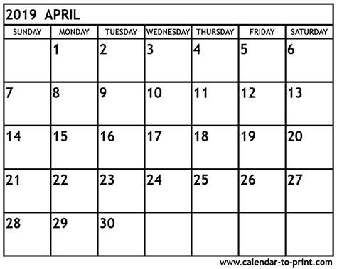 April 2019 Calendar With Holidays April 2019 Calendar Printable