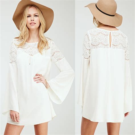 Korea Boho Tunic Dress casual dress sleeve dress white dress