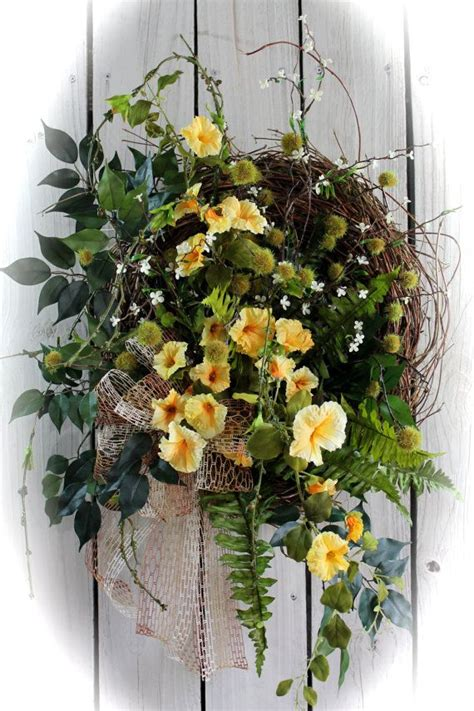 Country Wreaths For Front Door On Sale Front Door Wreath Wildflower Wreath Country Door Wreath Honeysuckle Wreath