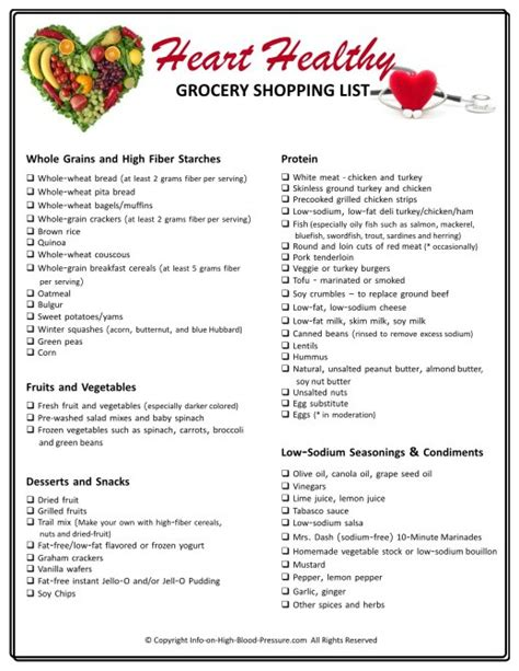 printable healthy shopping list heart healthy grocery shopping list