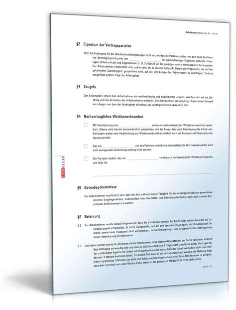 Vorlage Kündigung Arbeitsvertrag Mit Aufhebungsvertrag Probezeitverl 228 Ngerung Durch Aufhebungsvertrag Muster Downloaden