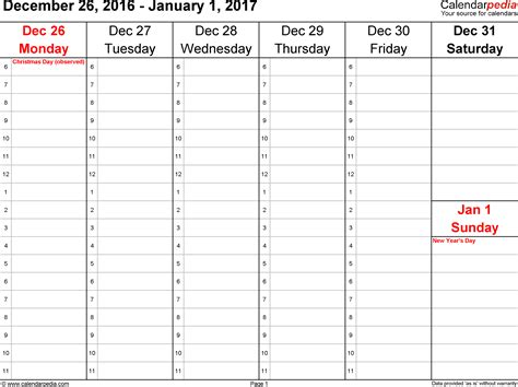 Weekly calendar 2017 for Word   12 free printable templates