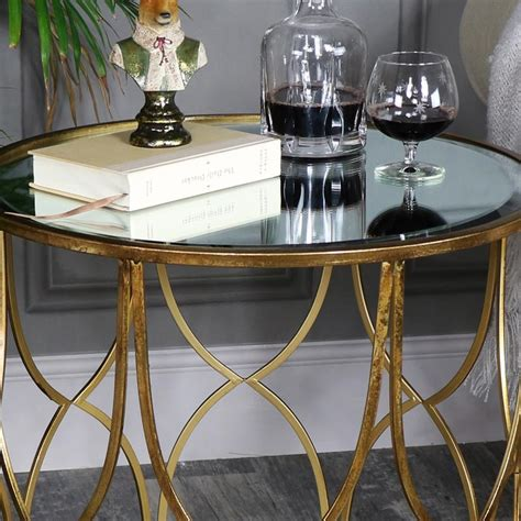 Mirrored Side Table Living Room Vintage Gold Mirrored Side Table Shabby Chic Living Room Furniture Ebay