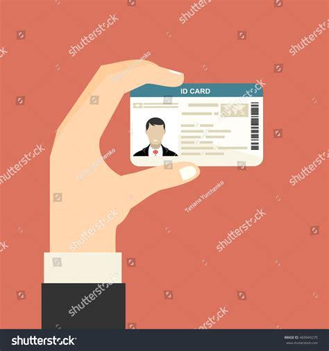 id card flat design illustration hand holding id card vector stock vector